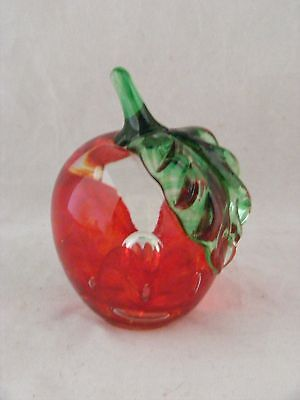 """Saint Clair 1977 Apple Paperweight 3.25"""" x 2""""  Signed"""