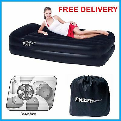 Inflatable Air Bed Raised Single Blow Up Flocked Mattress Camping Electric Pump