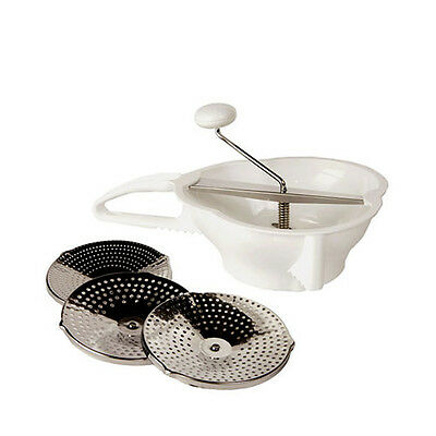 Vegetable Soup & Cheese Food Mill Grater Mouli w/ 3 Stainless Steel Discs Blades