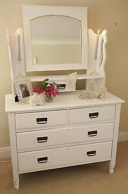 Antique Vintage Edwardian Shabby Chic White Painted Dressing Table Drawers