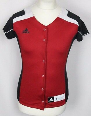Vintage Adidas Baseball Jersey Womens Small Red Black