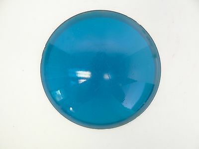 Antique Old B & 4 No 10 Blue Glass Railroad Lantern Lens Cover Shade Part