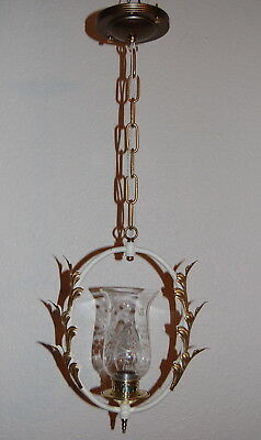 Petite Deco Wreath Pendant Light Cut Glass Shade Tole