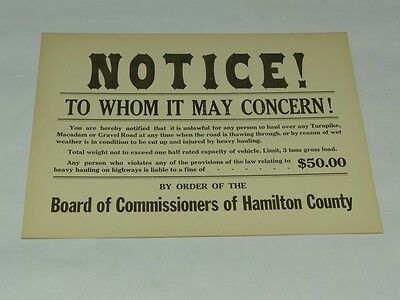 NOS Hauling Fine NOTICE Hamilton County Antique Truck Warning Cautionary Sign