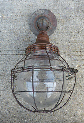 Benjamin Hazardous Application Copper Pendant Light Jar Shade Cage Large