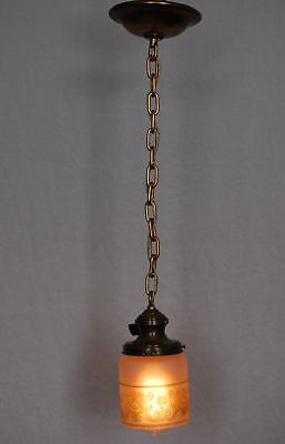 Victorian Pendant Light Fixture w/ Painted Glass Shade