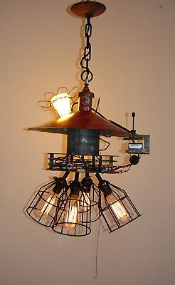 Steampunk Industrial Chandelier w/ Bulb Cages Barn Pendant Light FIxture