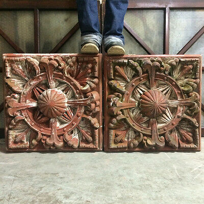Large 1880's Pair of Unglazed Red Terra Cotta Rosettes Indianapolis, IN Blocks