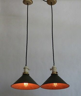 Pair of Industrial Pendant Lights w/ Porcelain Sockets & Green Cone Reflectors