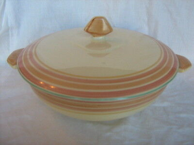Vintage Art Deco Grays Pottery Sunbuff hand painted covered vegetable dish