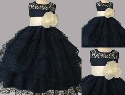 Navy Ivory Lace Wedding Bridesmaid Flower Girl Toddler Dress Pageant Recital #37