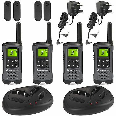 4 Motorola TLKR-T60Z Walkie Talkie PMR446 Rechargeable Radio Quad Pack & Charger