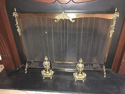Vintage Brass Fireplace Screen and a pair of French Style Andirons