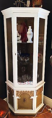 Shabby Chic White and Avocado Corner Cabinet with Interior Light and Glass Shelv