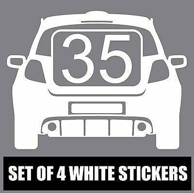 Set of 4 Wheelie Bin Vinyl Stickers for Clio RS Enthusiasts House Number S10