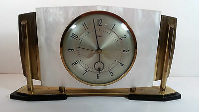 Metamec Electronic Brass & Lucite Faux Mother Of Pearl Mantel Clock Working
