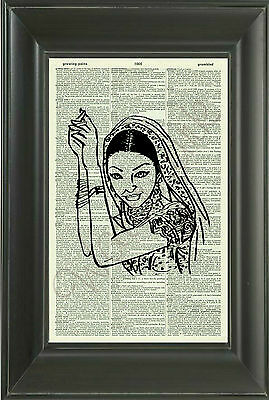 ORIGINAL-Indian Beauty Art Print on Vintage Dictionary Page - Wall ART - 13D