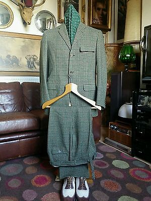 "Vtg 40's/50s Chester Barrie Savile Row Checked Wool Suit.Superb,C 39-40"",W 30-32"