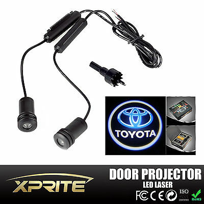 2x LED Car Door Laser Projector Ghost Shadow Step Light Logo Toyota White