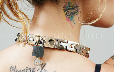 NEW Adjustable Size Watch Band Link Slave Collar BDSM Choker w/ Padlock - Small
