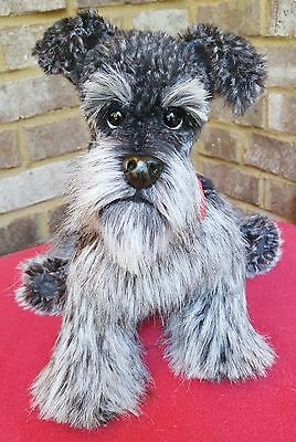 OOAK~realistic~pose able~Schnauzer~puppy dog~collectable~soft sculpture