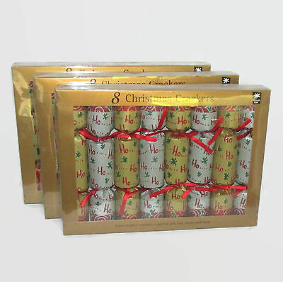 Santa Ho Ho Ho Theme Gold Silver Green Red Christmas Holiday Crackers Poppers