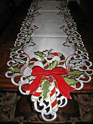 Candy Cane Holly & Bows Christmas Decor Table Runner Shimmer Embroidered 68 x12