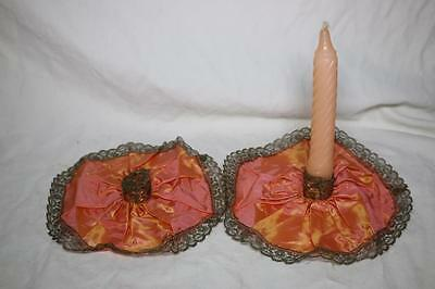"""RARE 1927 Iridescent Silk and Lace 7.5"""" Candle Holders (includes one candle)"""