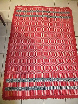 RARE GREECE VINTAGE UNIQUE BLANKET 190 x 126 HANDMADE 100% WOOL GREEK 1910-1930