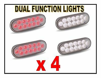 "(FOUR) 12 LED Trux Dual Function 6"" Oval Clear Lens S/T/T & Back-Up (Kit)"