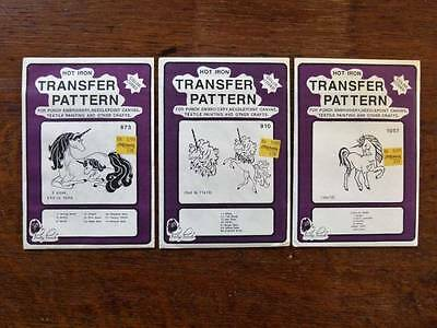 3 Pretty Punch Hot Iron Transfer UNICORN Patterns Embroider Needlepoint Painting