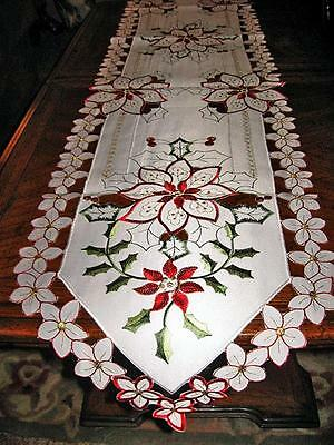 "Lacy Holly & Poinsettias Embroidered Holiday Christmas Decor Table Runner 68""x13"