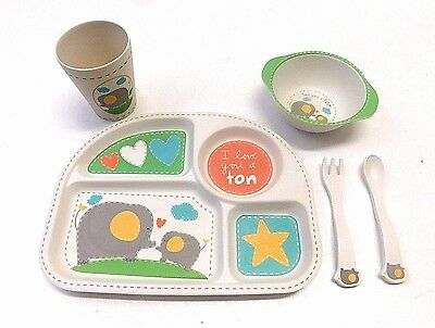 5 Piece Baby Toddler Dinner Set Elephant Plate Bowl Cup Silverware Spoon Fork