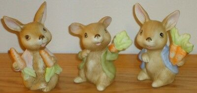 Homco BUNNY RABBITS porcelain Figurines set of 3 EASTER #1410