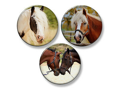 "BEAUTIFUL HORSES Fridge Magnet Set - 3 Large 2.25"" Round Magnets (Set #4)"