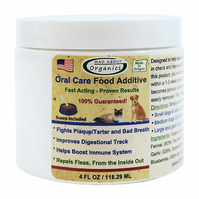 Mad About Organics All Natural Dog & Cat Dental Plaque Remover Food Additive 4oz