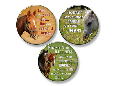 "HORSE SAYINGS Western Fridge Magnet Set - 3 Large 2.25"" Round Magnets (Set #2)"