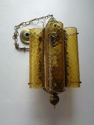 "Vintage Mid-Century Brass Chandelier Amber Panel Bubble Pebble Glass 25"" x 12"""