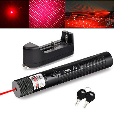 Military Powerful 5mw 650nm Laser Pointer Pen Zoom Visible Beam Lazer + Charger
