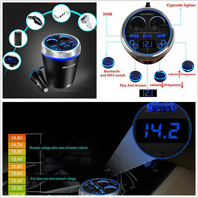 Multifunction 3-USB 2 Cigarette Lighter Car Bluetooth Kit Handfree FM MP3 Player