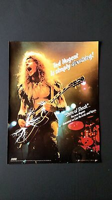 """Ted Nugent """"state Of Shock""""  (1979) Rare Original Print Promo Poster Ad"""