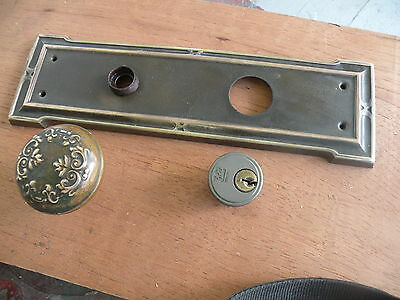 Arts and crafts door plate and knob brass victorian