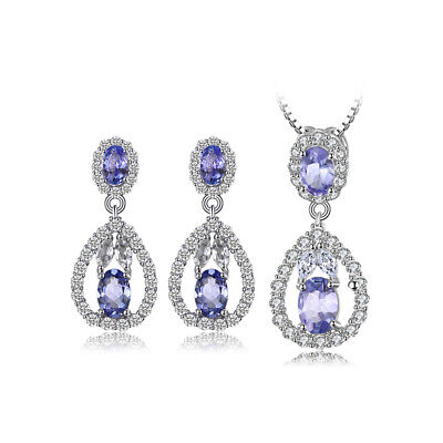 JewelryPalace 5ct Natural Tanzanite White Topaz Jewelry Set 925 Sterling Silver