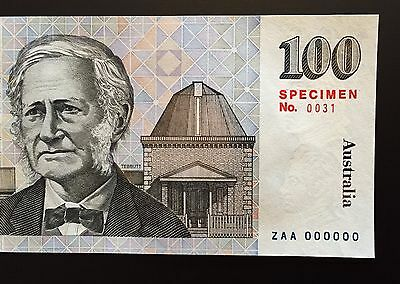 Australia $100 SPECIMEN NOTE ** ZAA 000000 ** Specimen No.0031 ** PERFECT UNC!!