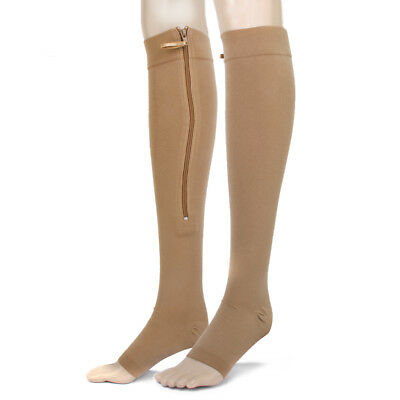 Nude Zip Open Toe Support Graduated Compression Knee High Socks Stockings L