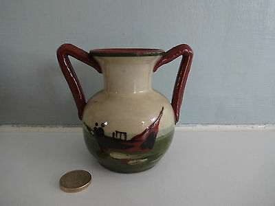 """Vintage Torquay/Devon Motto Ware  Pottery-small 2 handled Vase -""""Make hay while"""