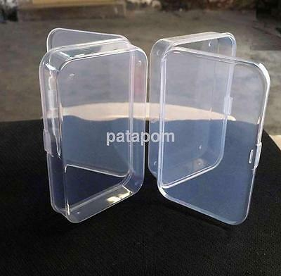 2X Clear Plastic Transparent With Lid Storage Boxes Collection Container Case AU