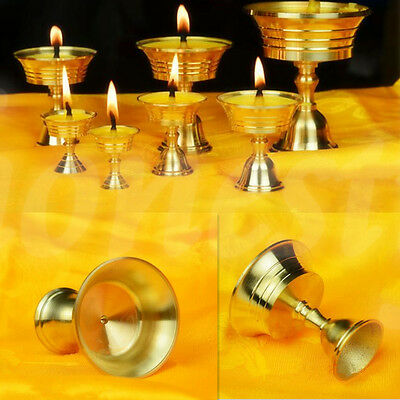 Brass Oil Burner Tibetan Buddhism Feng Shui Lamp Candle Holder Vintage 4 Size