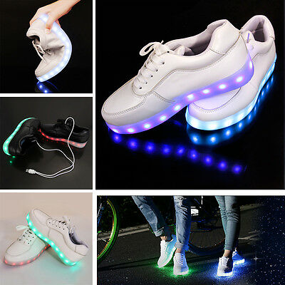 Unisex 7 LED USB Light up Lace Up Luminous Sportswear Casual Sneaker Shoes NEW