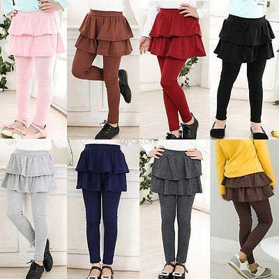 3-11Y KIds Girl Ruffle Culottes Princess Tutu Skirt Cake Stretch Pants Leggings
